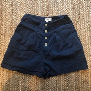 Blue button up shorts size s